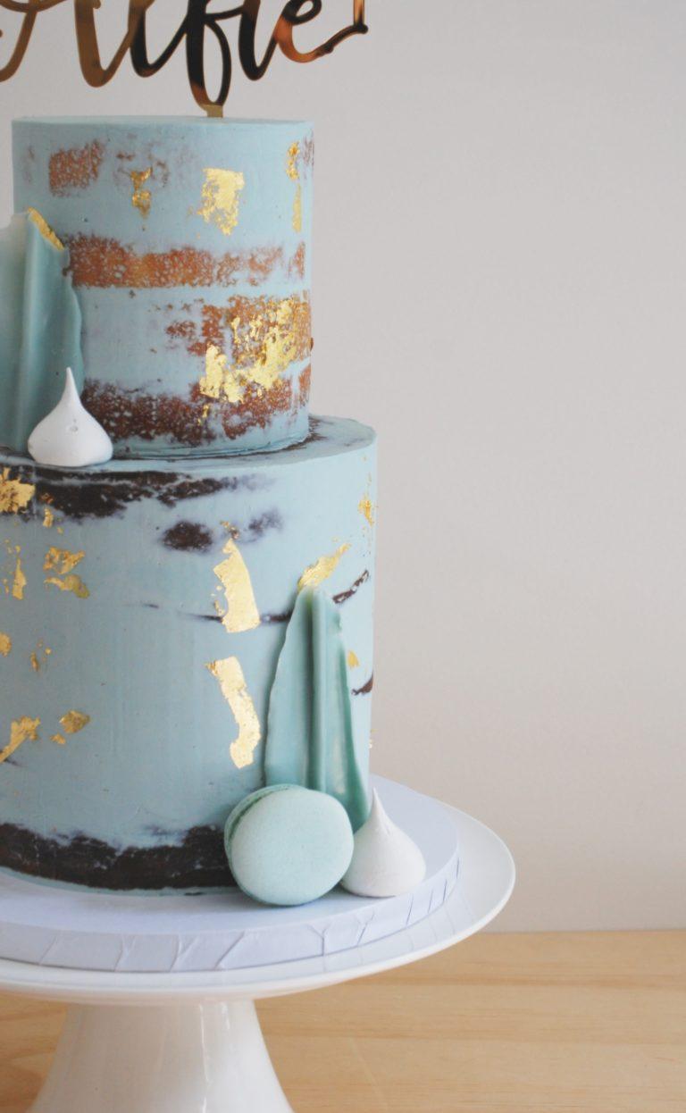modern semi naked baptism cake