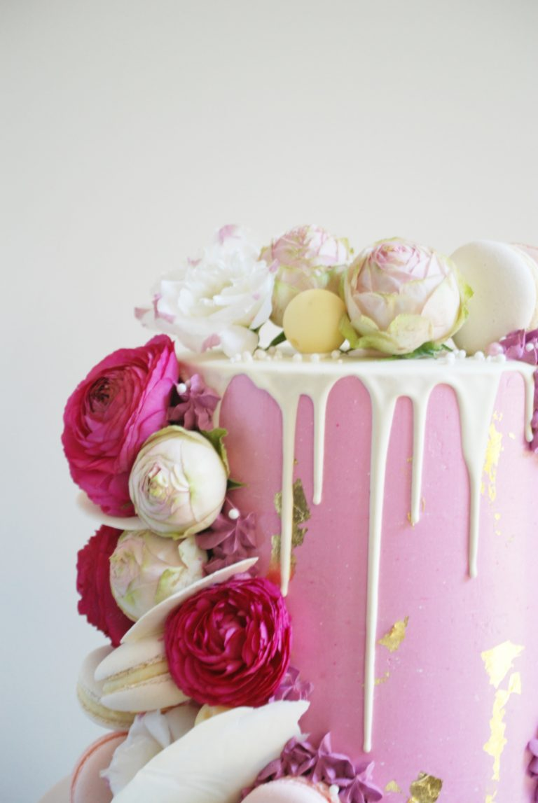 pink drip cake bridal shower