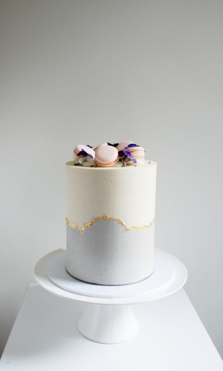 tall modern bridal shower cake